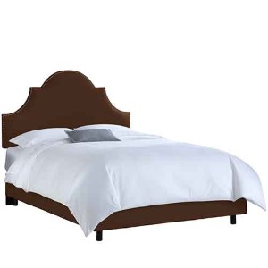Linen Chocolate Nail Button High Arch Notched Queen Bed