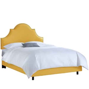 Linen French Yellow Nail Button High Arch Notched King Bed