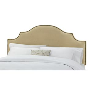 Velvet Buckwheat King Nail Button Notched Headboard