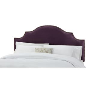 Velvet Aubergine California King Nail Button Notched Headboard