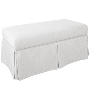 Skirted Storage Bench in Twill White