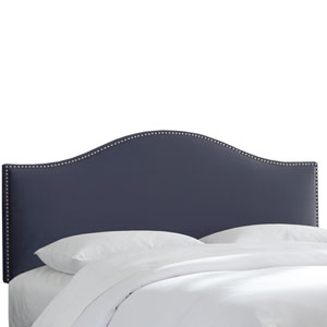Queen Premier Lazuli Blue Nail Button Headboard