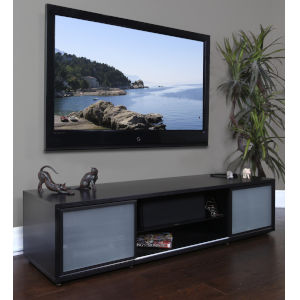 Black Oak 75-Inch Rectangular TV Cabinet with Storage
