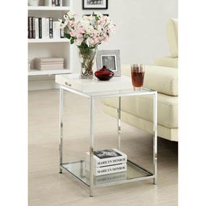 Palm Beach White 24-Inch High End Table