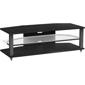 CRX 54-Inch Black Oak with Black Entertainment Media Video Stand