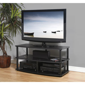 SE Series Black Oak with Black Entertainment Media Video Stand