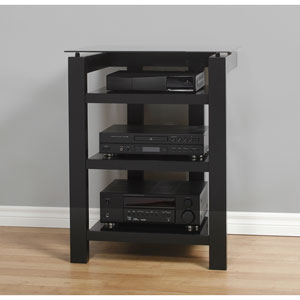 SL Tall 26.5-Inch Black Satin TV Stand with