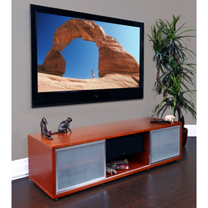 SR Series Small Walnut Entertainment Media Video Stand Silver Frame Door