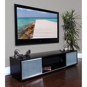 SR 75-Inch Black Oak TV Stand Silver Frame Door