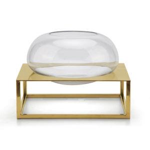 Glass Gold Frame Round Vase with Titanium Gold Base