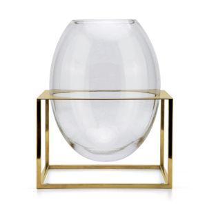 Glass Gold Frame Oval Vase with Titanium Gold Base
