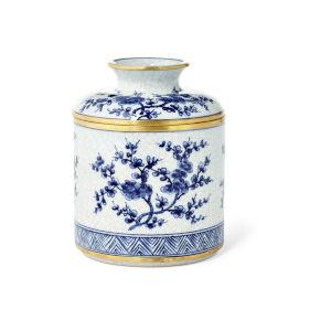 Blue White Gold Blossom Tissue Box