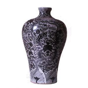 Black White Dragon Meiping Vase