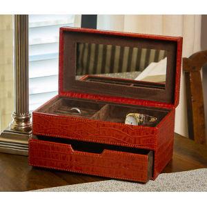 Burnt Orange Crocodile Jewelry Box