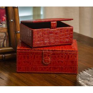 Burnt Orange Crocodile Leather Boxes, Set of Two