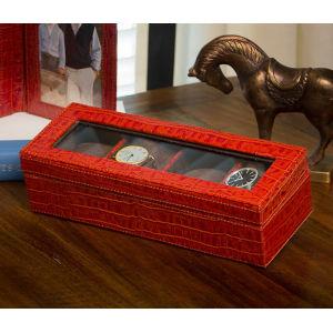 Burnt Orange Crocodile Four-Watch Box