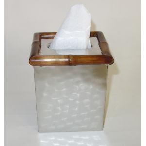 Nickel Bamboo Tissue Box