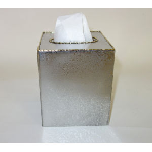 Frosted Nickel Gold Trimmed Tissue Box