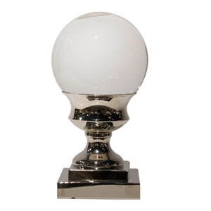 Nickel 11-Inch Tall Crystal Ball on Pedestal