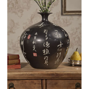 Black Calligraphy Ball Vase