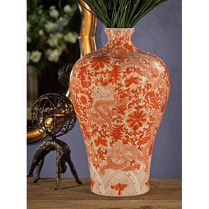 Orange and Ivory Cinnabar Mei Ping Vase