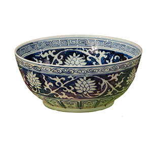 Blue and White Lily Bowl