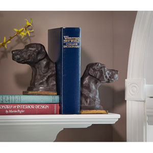 Bronze Lab Iron Bookends, Set of Two