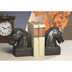 Bronze Iron Horse Head Bookends, Set of Two
