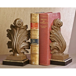 Iron Gold And Bronze Finish Acanthus Bookends, Set of Two