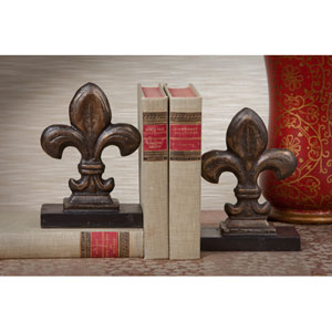 Bronze Iron Fleur De Lis Bookends, Set of Two