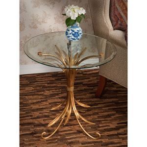 Antique Gold Iron Wheat Table with Beveled Glass Top