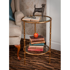 Antique Gold Bamboo End Table