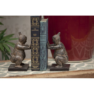 Stone Bronze Sumo Bookend, Set of Two