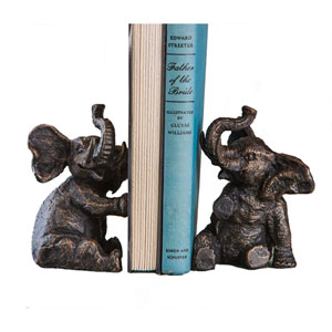 Bronze Elephant Bookends, Set of Two
