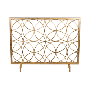 Antique Gold Circles Fireplace Screen