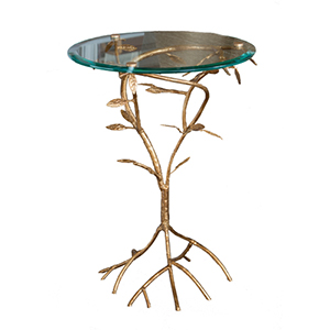 Antique Gold Leaf Branch Accent Table with Glass Top