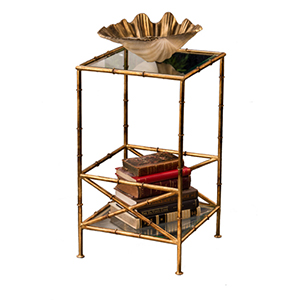 Antique Gold Bamboo Two Tier Accent Table with Glass