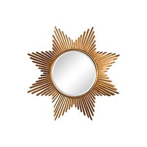 Antique Gold Star Burst Wall Round Mirror