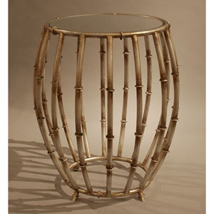 Antique Silver Bamboo Drum Accent Table with Mirror Top
