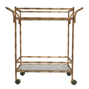 Antique Gold Bamboo Tea Cart