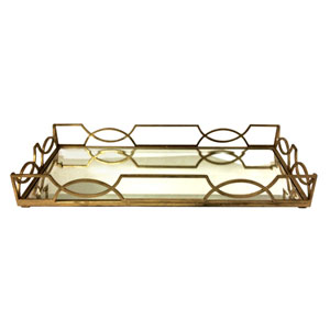 Antique Gold Quatrefoil Tray