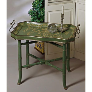Blue/Green Wood Tray and Stand