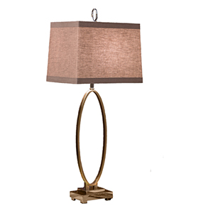 Antique Brass Three Way Oval Table Lamp