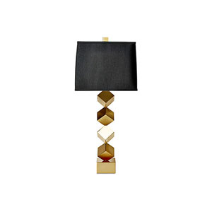 Antique Brass One-Light Stacked Cube Lamp