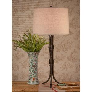 Bronze Bamboo Lamp with Cream Shade