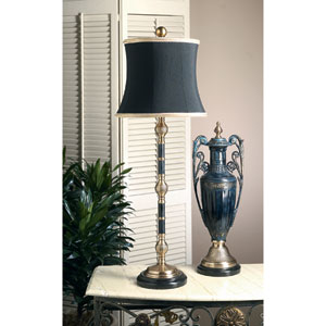 Antique Brass Buffet Lamp with Black Shade