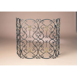Bronze Fleur De Lis Iron Firescreen with Brass Medallion