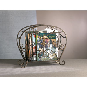 Bronze Fleur De Lis Iron Magazine Holder with Brass Medallion