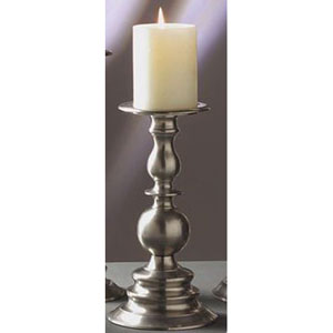 Pewter Pillar Candleholder - 10 Inches Tall