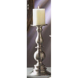 Pewter Pillar Candleholder - 12 Inches Tall